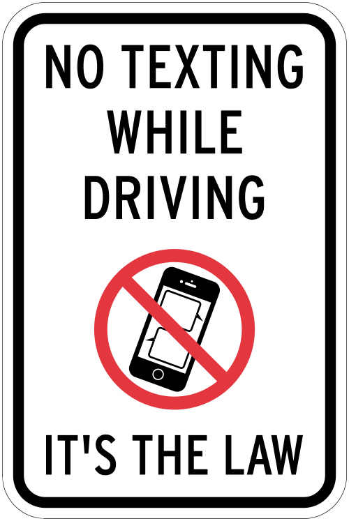 Stonehouse Signs No Texting While Driving Sign