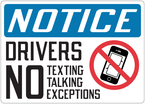 Stonehouse Signs Notice Drivers No Texting Talking Exceptions