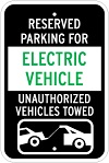 Stonehouse Signs Reserved Parking For Electric Vehicle Unauthorized Vehicles Towed Parking Sign