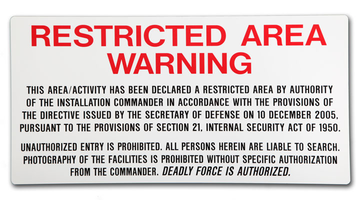 Stonehouse Signs Military Signs Access Control Restricted Area Warning Sign