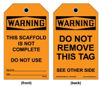 Stonehouse Signs Scaffold Warning Tag