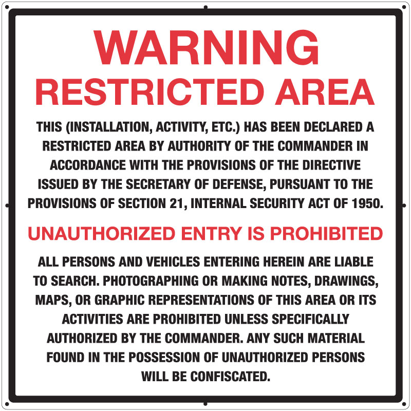 Stonehouse Signs Restricted Area Warning Signs Military