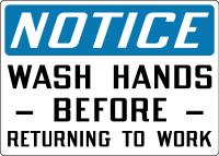 Stonehouse Signs Notice Wash Hands Before Returning To Work Sign