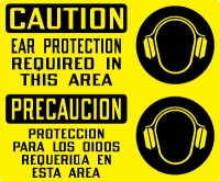 Stonhouse Signs Ear Protection PPE Signs Caution Ear Protection Required In This Area English-Spanish Sign