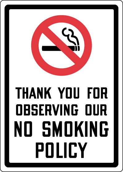 Stonehouse Signs Thank You For Observing Our No Smoking Policy Sign