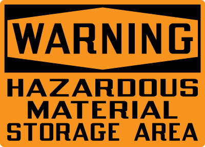 Stonehouse Signs Warning Hazardous Material Storage Area Sign Black & Orange