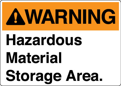 Stonehouse Signs Warning Hazardous Material Storage Area Sign Orange & White