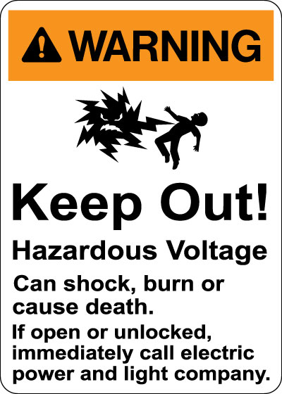 Stonehouse Signs Warning Keep Out Hazardous Voltage Sign