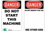 One of Stonehouse Signs Standard Lockout/Tagout Tags