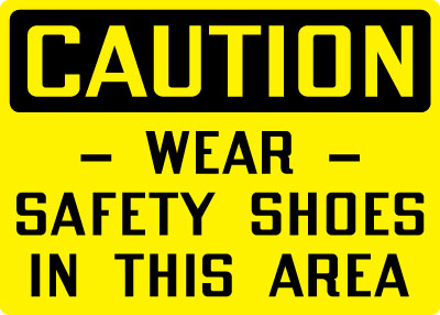 Personal Protection Sign Caution Wear Safety Shoes In