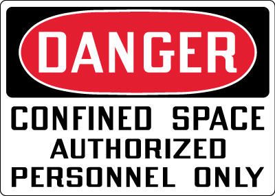 Confined Space Sign - Danger: Confined Space Authorized Personnel Only ...