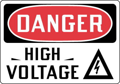 Electrical Safety Sign - Danger: High Voltage with Symbol ...
