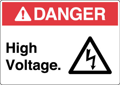 Electrical Safety Sign Danger High Voltage With Symbol