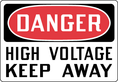 Electrical Safety Sign Danger High Voltage Keep Away