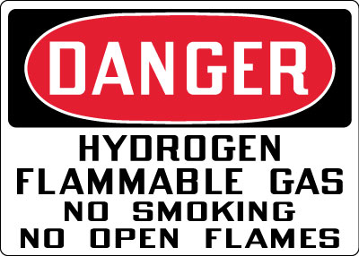 Smoking Control Sign Danger Hydrogen Flammable Gas No