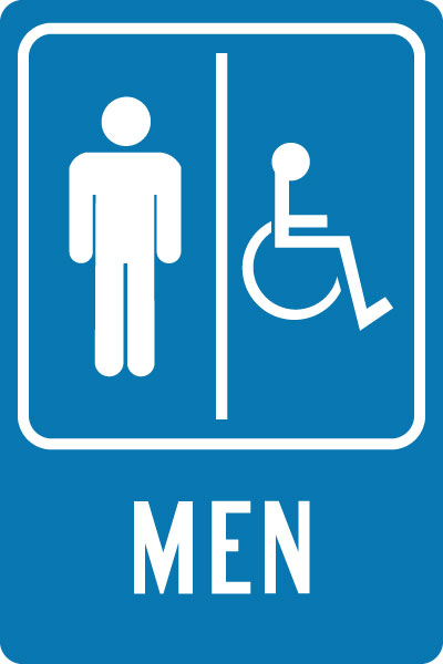 restroom directional sign. Handicap Restroom Sign - Men With Symbol/Handicap Accessible Symbol Directional O