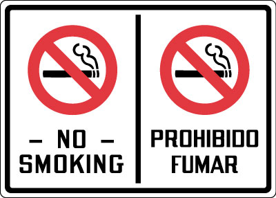 Bilingual Sign No Smoking With Symbol Red Amp Black On