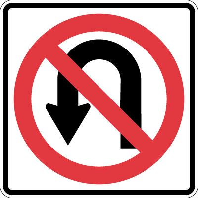 parking and traffic control sign no uturn symbol