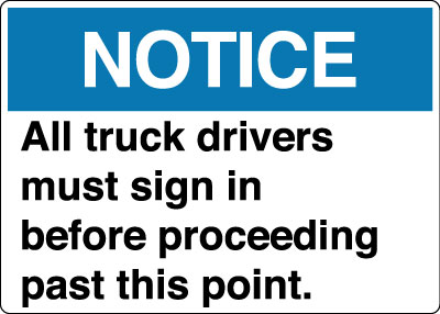 Parking And Traffic Control Sign Notice All Truck