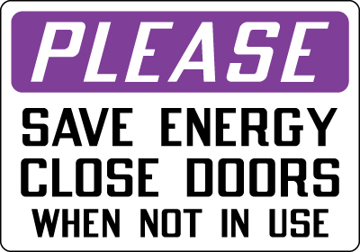 Conserve energy signs images for Door not closing