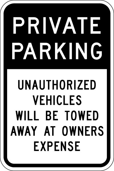 parking and traffic control sign private parking