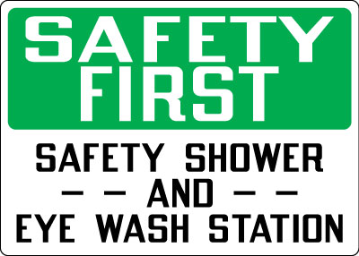 first aid sign safety first safety shower and eye wash station osha image - Eye Wash Station Osha