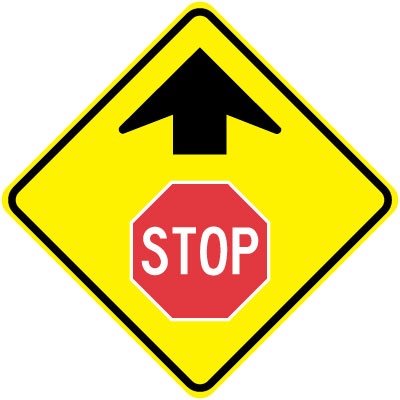 Parking and Traffic Control Sign - Stop Ahead with Arrow ...