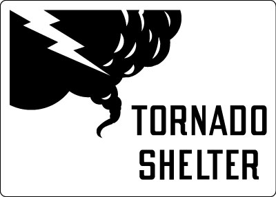 Directional Sign Tornado Shelter With Symbol