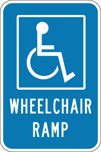 Parking And Traffic Control Sign Wheelchair Ramp With
