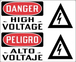 Danger High Voltage Bilingual With Symbol