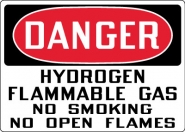 Hazardous Material Signs- Danger Hydrogen Flammable Gas No Smoking Open Flames