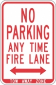 Stonehouse Signs NO Parking Any Time Fire Lane Sign with Double Arrow