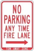 Stonehouse Signs No Parking Any Time Fire Lane Sign with Right Arrow