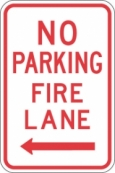Stonehouse Signs No Parking Fire Lane Sign with Left Arrow