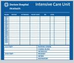 ICU Boards that have a color to match the dry erase boards in your nursing station or department.