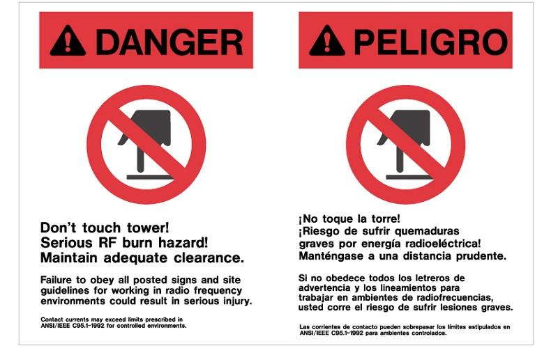 Stonehouse Signs Cellular Signs Cell Tower Signs Danger RF Burn Hazard Sign