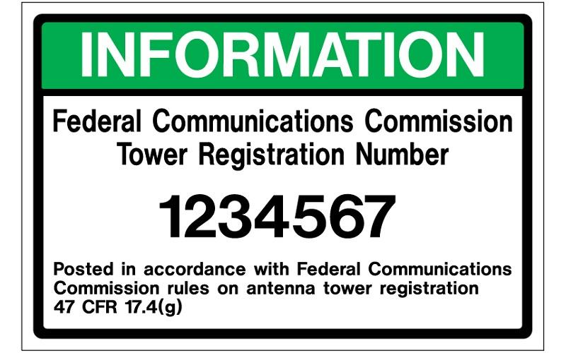 Stonehouse Signs Custom Federal Communications Commission Tower Registration Number Sign
